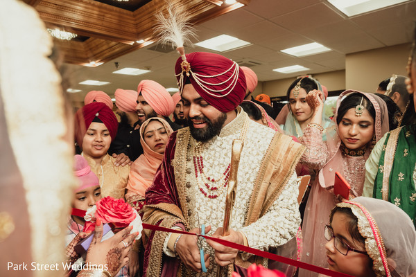 Indian groom with family.