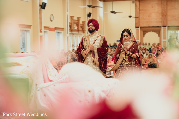 Indian groom and bride during the ceremony.