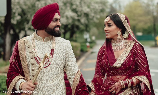 Indian bride and groom outdoors.