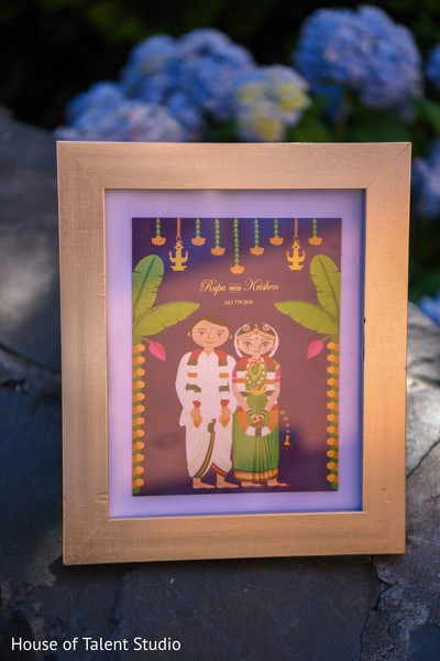 Bride and groom's art card.
