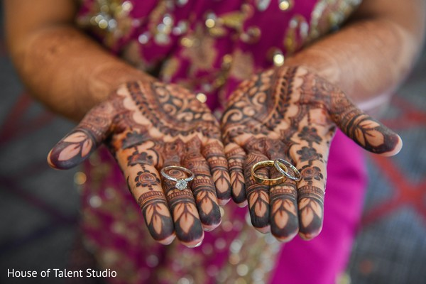 Bride showing her rings.