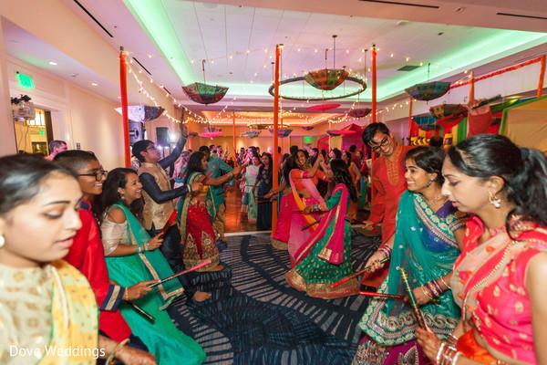 Everyone having fun and dancing at the Sangeet.