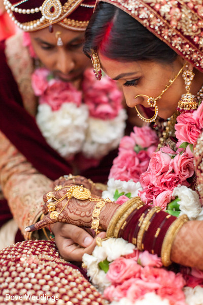 Indian lovebirds at their wedding ceremony.