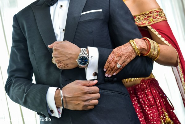 Closeup capture of Indian couples jewelry.