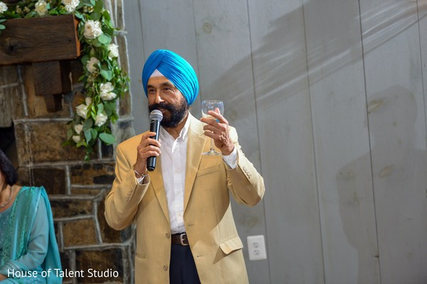 Indian relative giving out a speech.