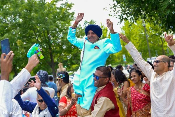 Indian relatives celebrating baraat.