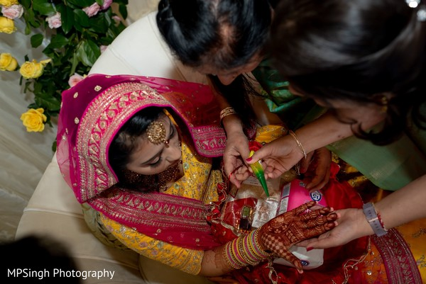 Bride during the mehndi ceremony.