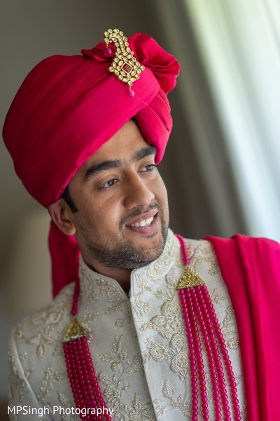 Indian groom getting ready for the bash.
