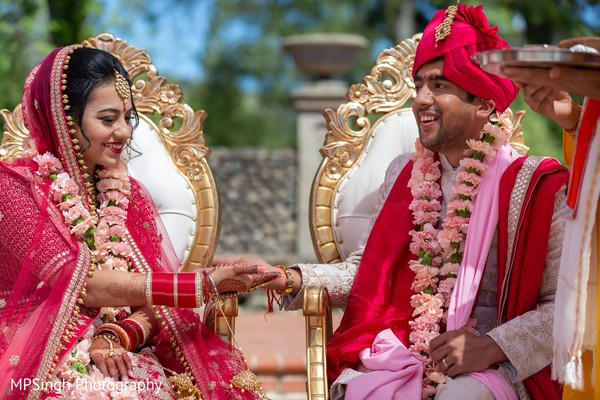 Indian bride and groom during the rituals.