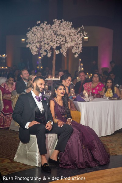 Lovely Indian couple enjoying their reception party.
