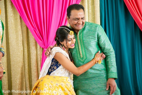 Beautiful indian bride's photography with father.