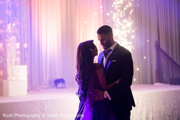 Romantic Indian couples  wedding reception dance.