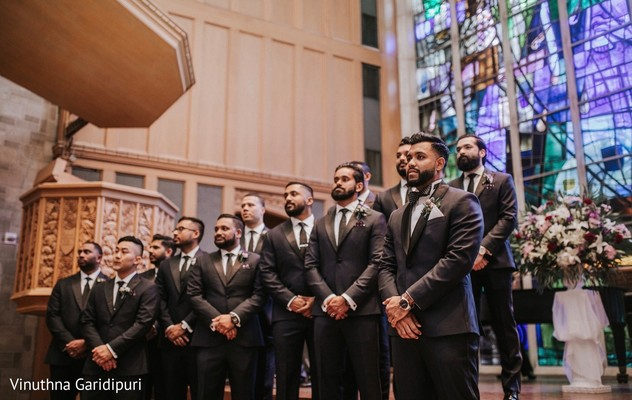 Indian groom and groomsmen waiting for the bride.