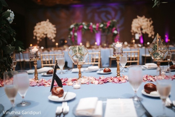 Elegant decoration on the reception table.