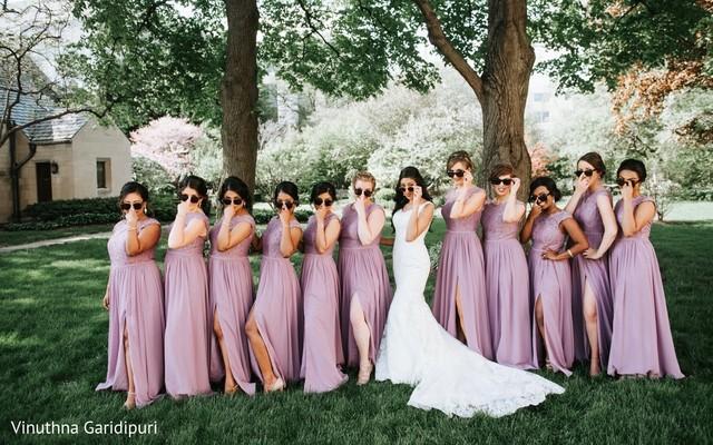 Stylish Maharani with her bridesmaids.