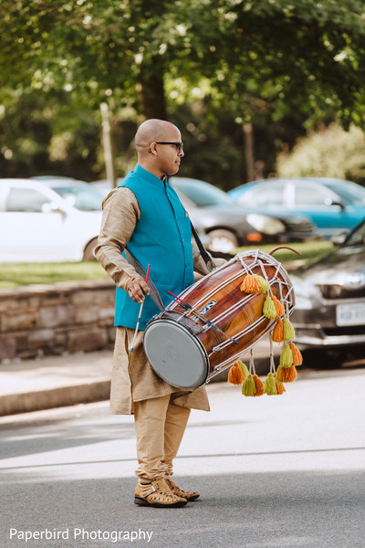 Indian Dhol player capture at baraat.