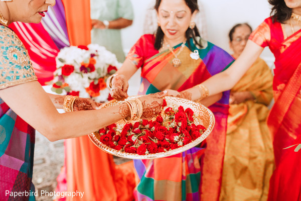 Closeup capture of Indian ceremony ritual flowers.
