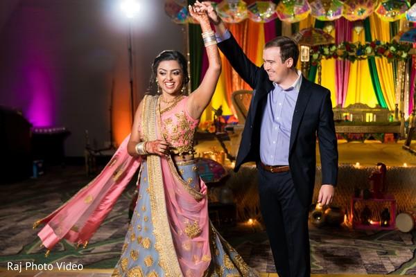 Indian bride and groom having fun.