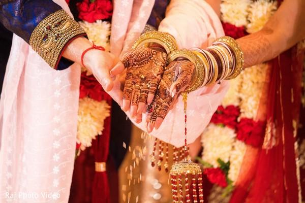 Indian couple in wedding ceremony.