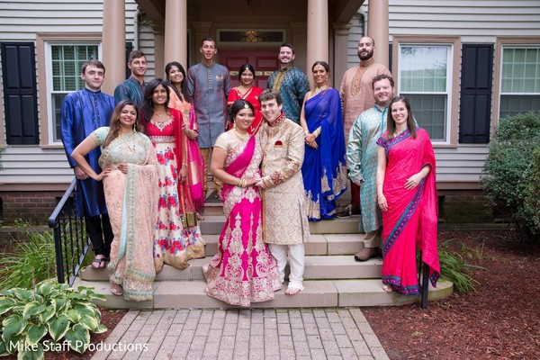 Enchanting indian lovebirds with bridesmaids and groomsmen.