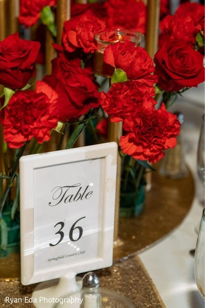 Elegant Indian wedding table number.