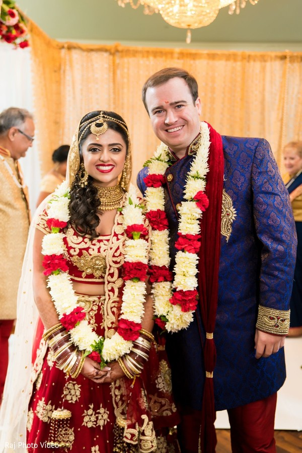 Adorable Indian couple at wedding.