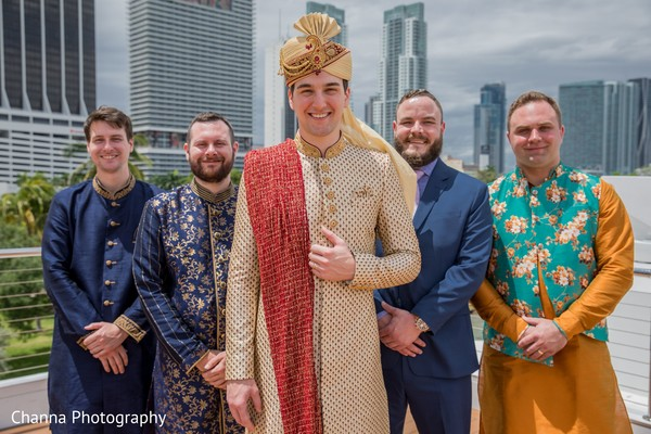 Charming Indian groom with groomsmen photo session.