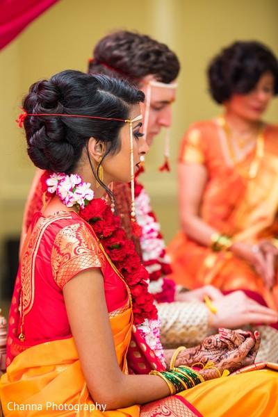 Dazzling indian lovebirds at wedding ceremony.