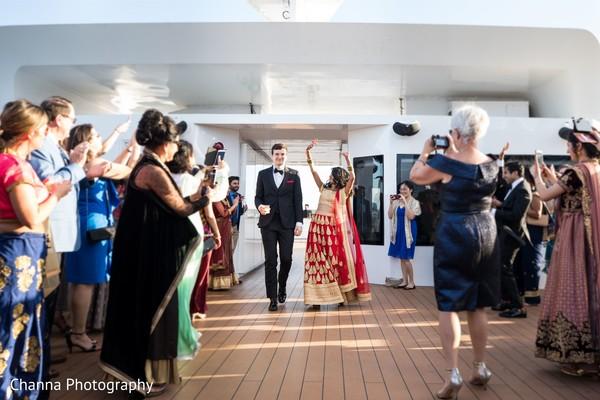 Incredible Indian couple's reception entrance.