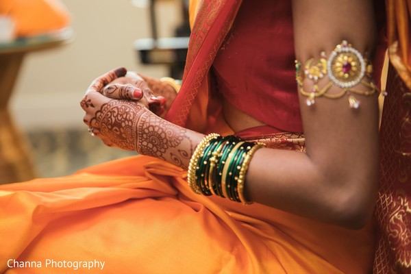 Indian bride with her ceremony  bangles on.