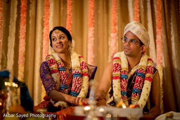 Lovely bride and groom ceremony portrait