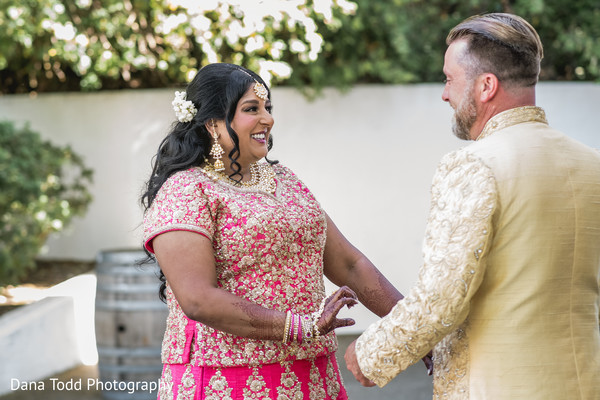 Indian bride and groom meeting.