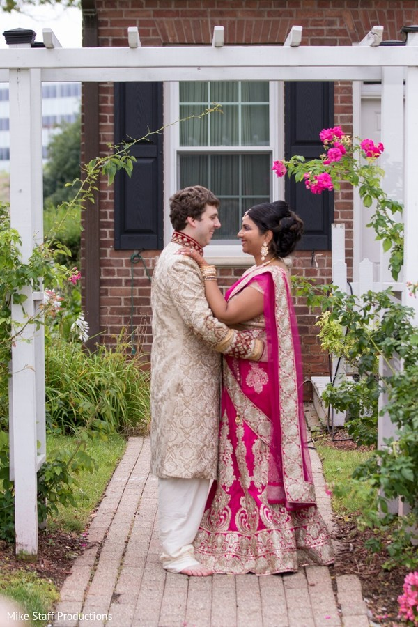 Adorable indian couple looking at each other.