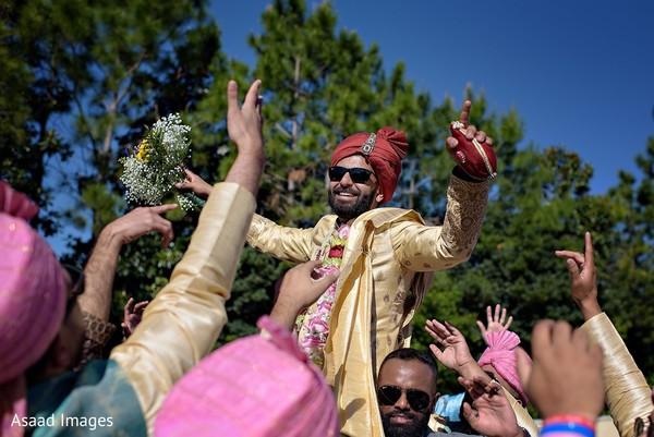 Raja celebrating the baraat.