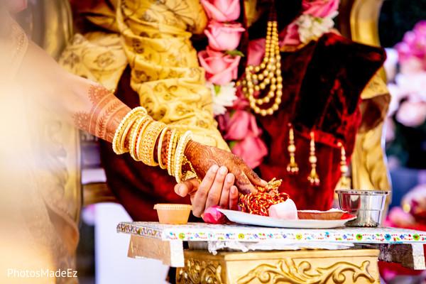 Charming indian couple during wedding ritual