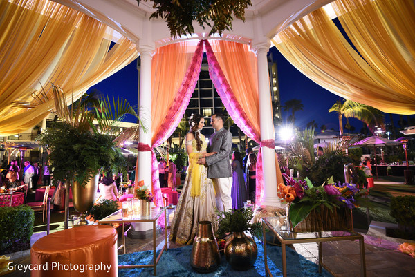 Lovely Indian couple sangeet photo session.