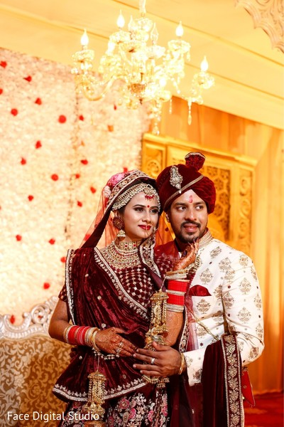 Indian bride and groom during the photoshoot.