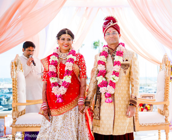 Lovely Indian couple at their Indian wedding ceremony.
