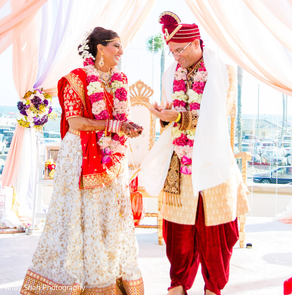 Take a look a Indian couple at wedding ceremony ritual.