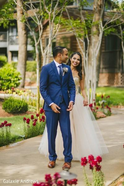 Ravishing Indian couple's wedding attire.