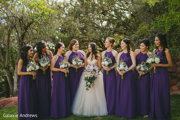 Sweet indian brie with bridesmaids posing for photoshoot.