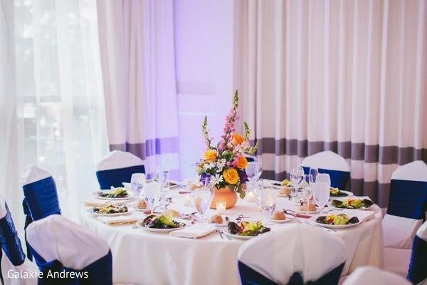 Wonderful Indian wedding reception table setup.