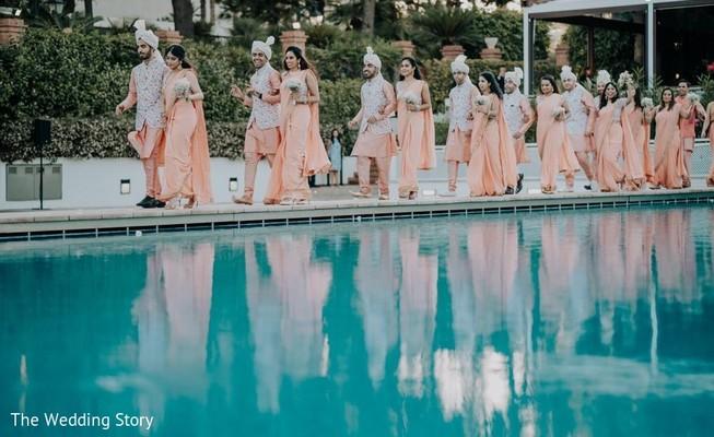 Marvelous capture of Indian bridesmaids and groomsmen.