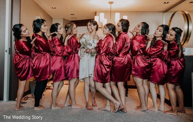 Dazzling indian bride with bridesmaids capture.