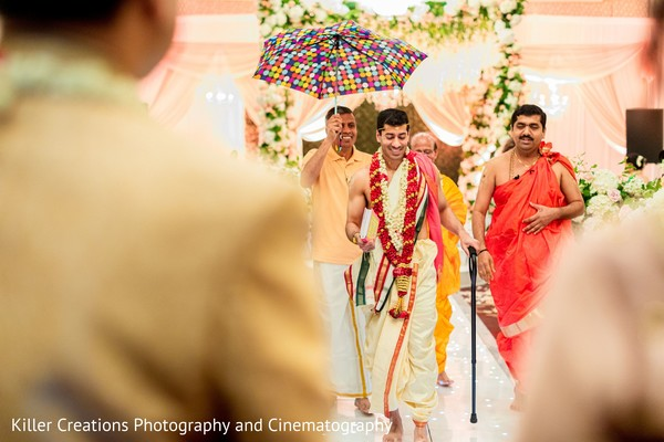 Charming Indian groom on his way to his wedding.