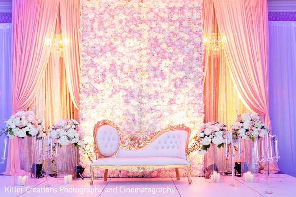 Incredible Indian wedding reception stage decoration.
