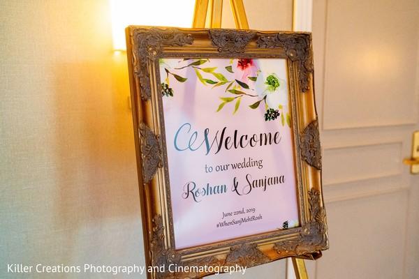 Elegant Indian wedding welcome sign.