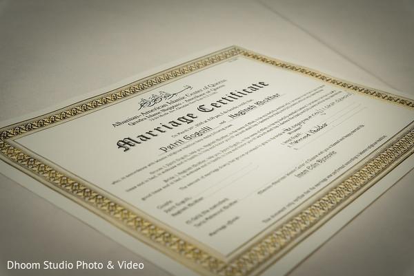 Closeup capture of Indian wedding marriage certificate.