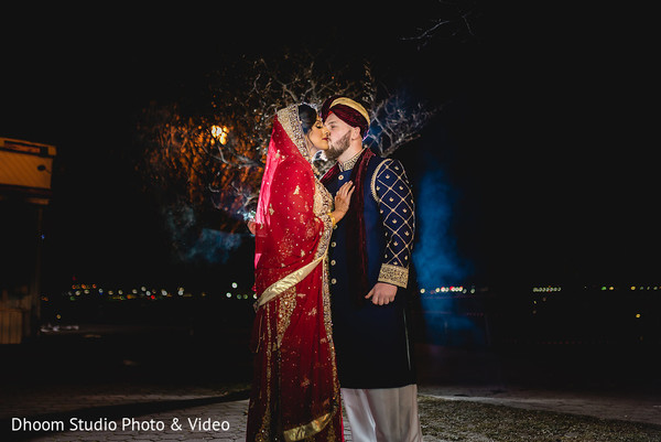 Romantic Indian couple in night photo shoot.