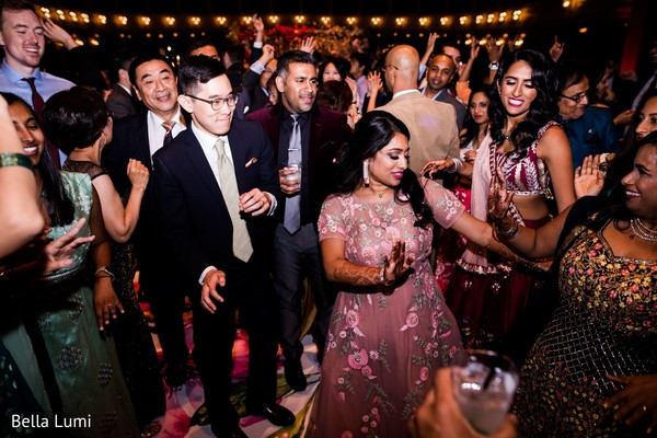 Joyful indian couple during wedding reception